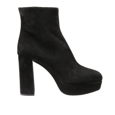 a2f169ccb62 Miu Miu Velvet Platform Ankle Boots In Black