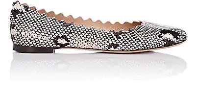 ChloÉ Lauren Scalloped Snake-Effect Leather Ballet Flats In Neutrals