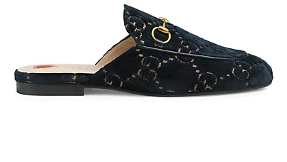 Gucci Princetown Horsebit-Detailed Leather-Trimmed Embroidered Velvet Slippers In Blue