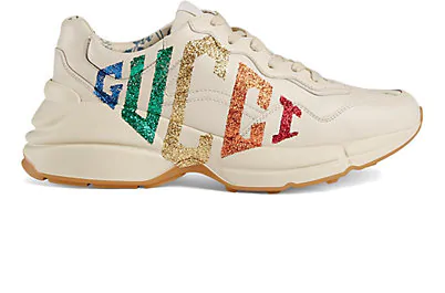 Gucci Women's Rhyton Glitter Logo Leather Sneakers In White