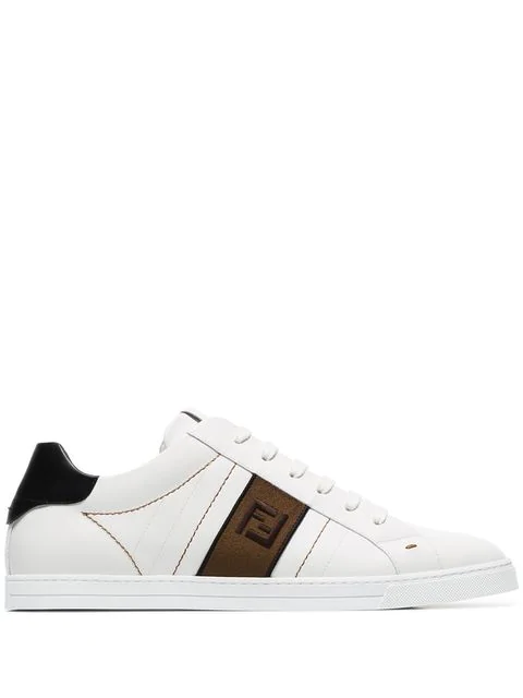 Fendi Logo-embroidered Low-top Leather Trainers In White
