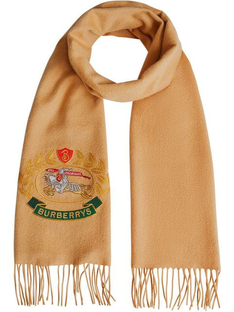 Burberry Embroidered Crest Cashmere Scarf In Yellow