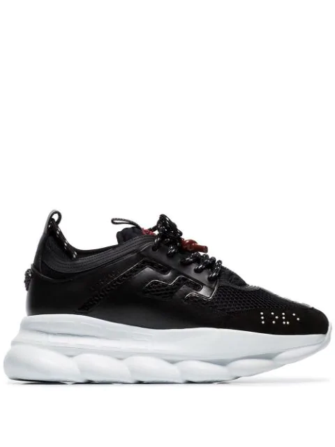 Versace Black Chain Reaction Mesh Leather Sneakers In D41H1 Black