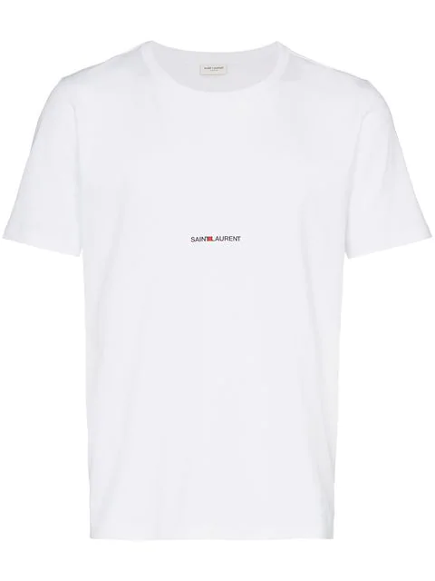 Saint Laurent White Cotton Basic T-shirt With Logo