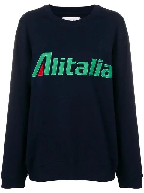 """Alberta Ferretti """"alitalia"""" Embroidered Cotton Sweatshirt In Blue"""