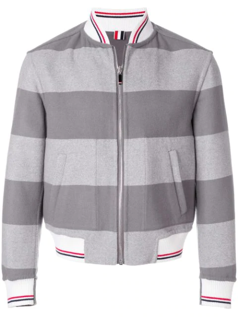 Thom Browne Grey Reversible Rugby Stripe Melton Wool Bomber