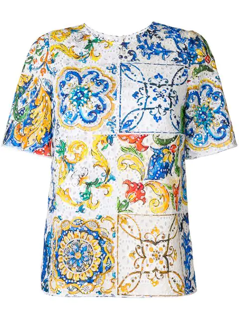 Dolce & Gabbana Majolica-print Broderie Anglaise Top In Multicolour