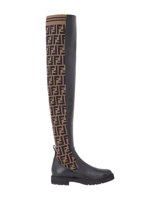Fendi Logo-Jacquard Stretch-Knit And Leather Over-The-Knee Boots In Black