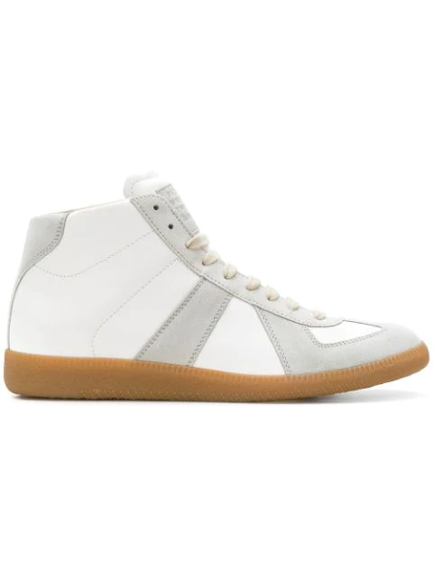 Maison Margiela Men's Replica Paneled Leather/suede High-top Sneakers In White