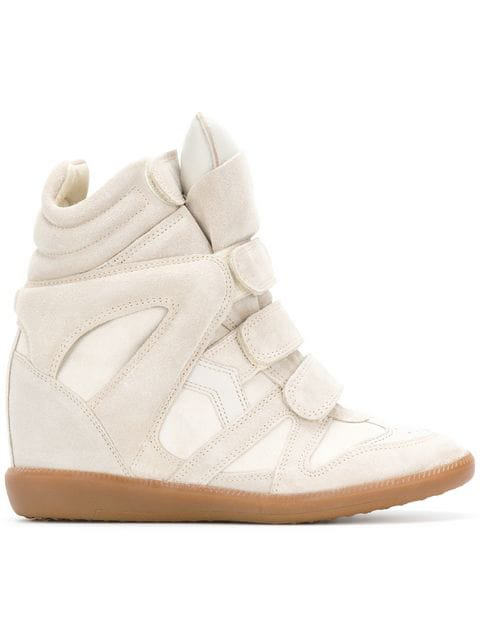 Isabel Marant Étoile Bekett Leather And Suede Sneakers In Neutrals