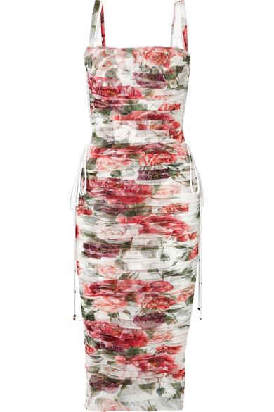 Dolce & Gabbana Lace-up Ruched Floral-print Cotton And Silk-blend Tulle Midi Dress In White