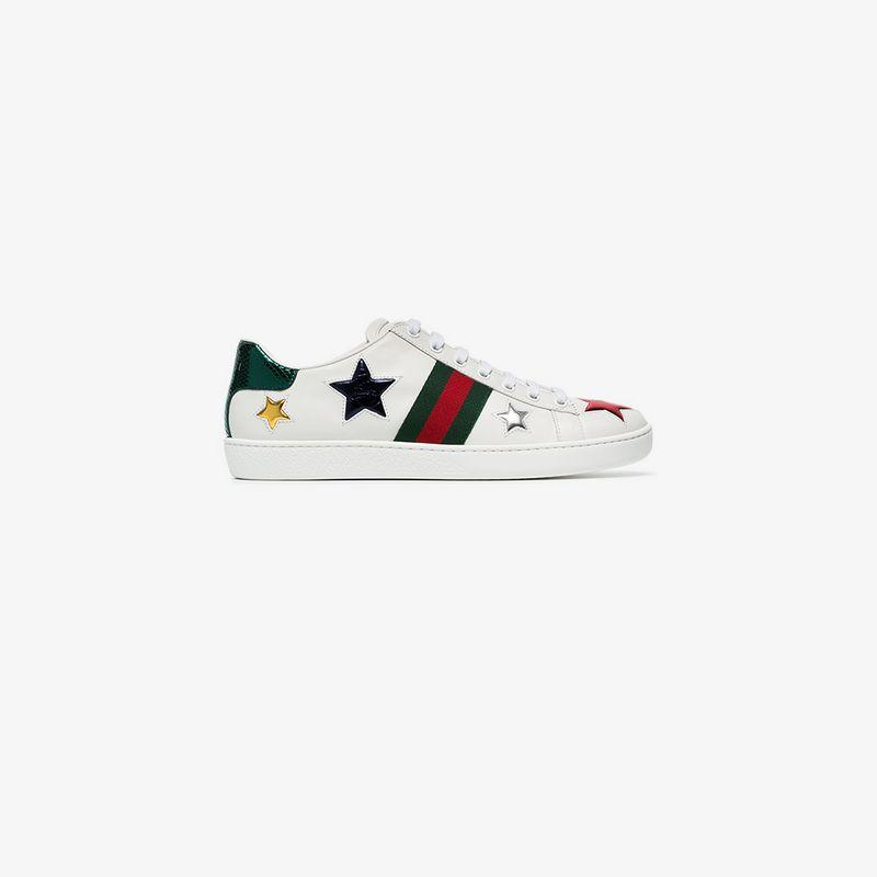 4e0e179de Gucci New Ace Metallic-Stars Leather Trainers In White | ModeSens
