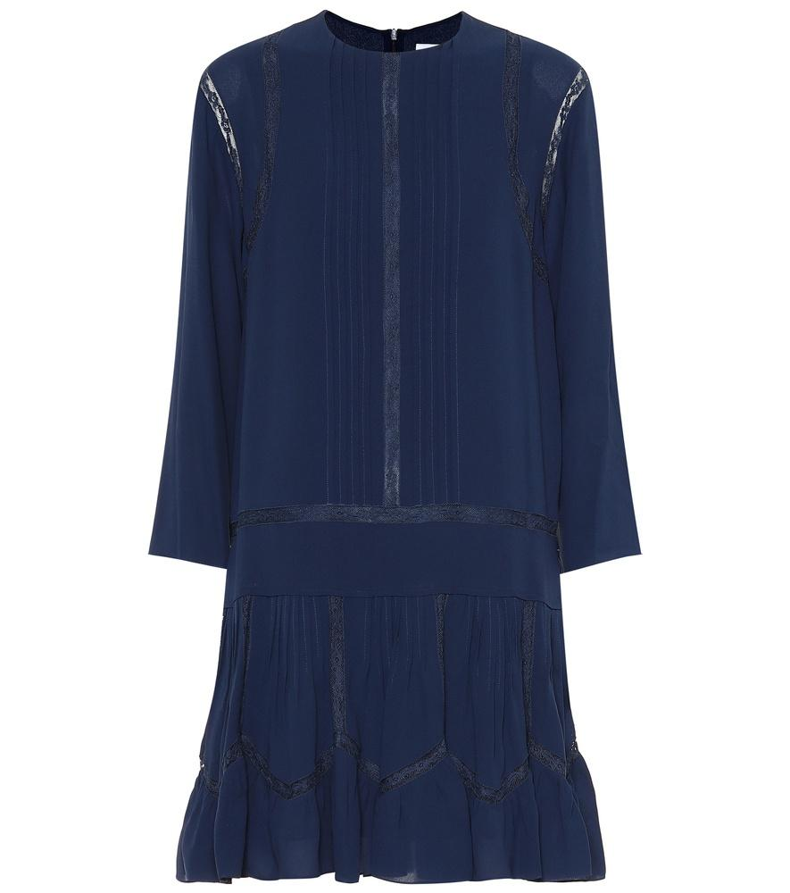 ChloÉ Silk Drop Waist Dress In Blue