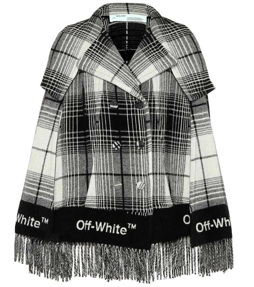 Off-white Off White Fringed Check Print Coat In Multi