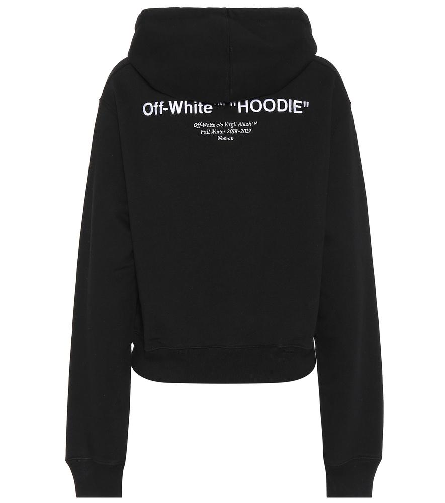 6166ec70a6b4 Off-White Black Cotton Hoodie Sweatshirt With Front Printed.
