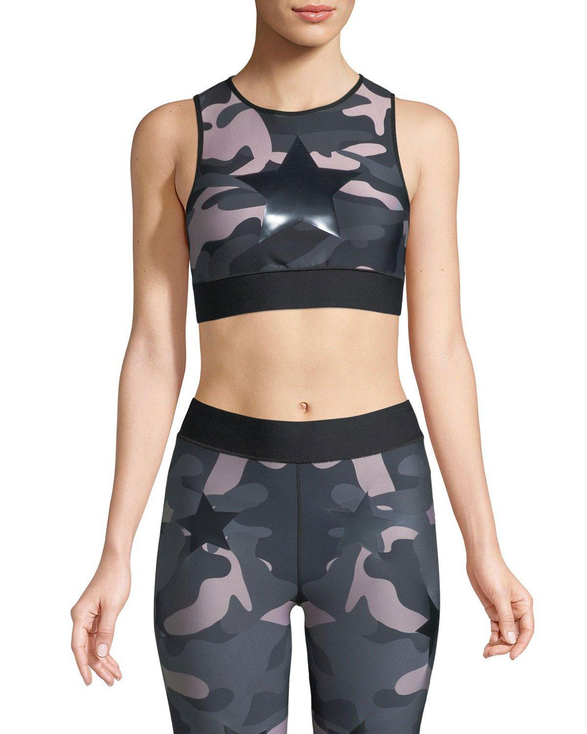 74fd8aa4f8 Ultracor Knockout AppliquÉD Camouflage-Print Stretch Sports Bra In Black