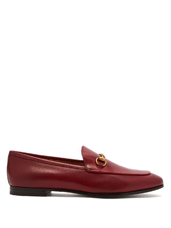 Gucci Brixton Collapsible Leather Loafers In Hibiscus Red