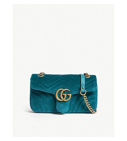 f76defcf866 Gucci Ladies Peacock Dark Blue Marmont Velvet Shoulder Bag