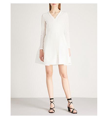 e3a28ad65b0f Maje Rossignol Grosgrain-Trimmed Pleated Lace Mini Dress In White ...