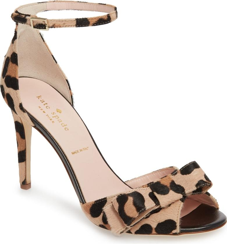 24539ae2c756 Kate Spade Ismay Leather Stiletto Sandals In Leopard Calf Hair ...