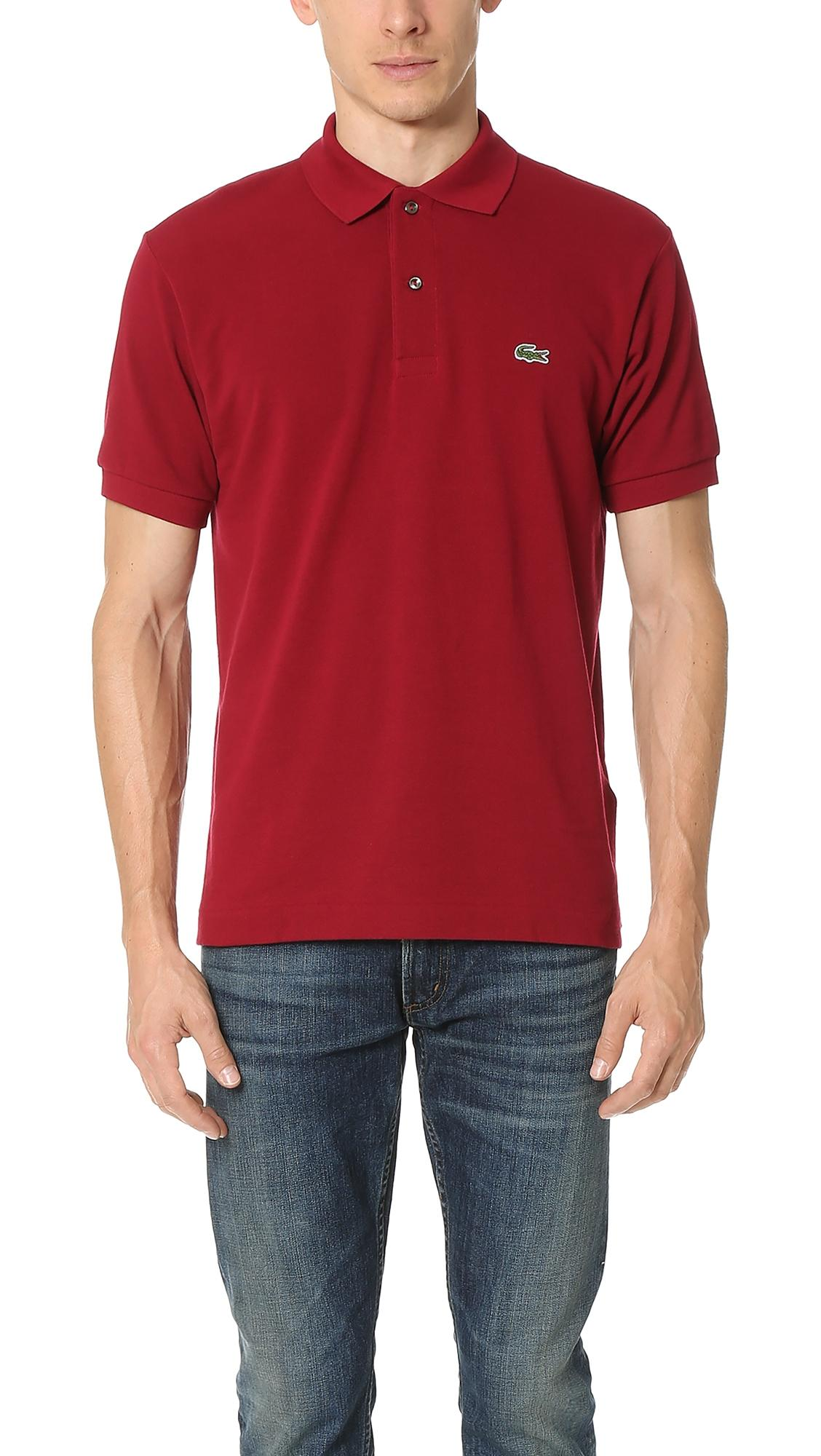 Lacoste Men's Regular Fit Pima Cotton Interlock Polo In Bordeau