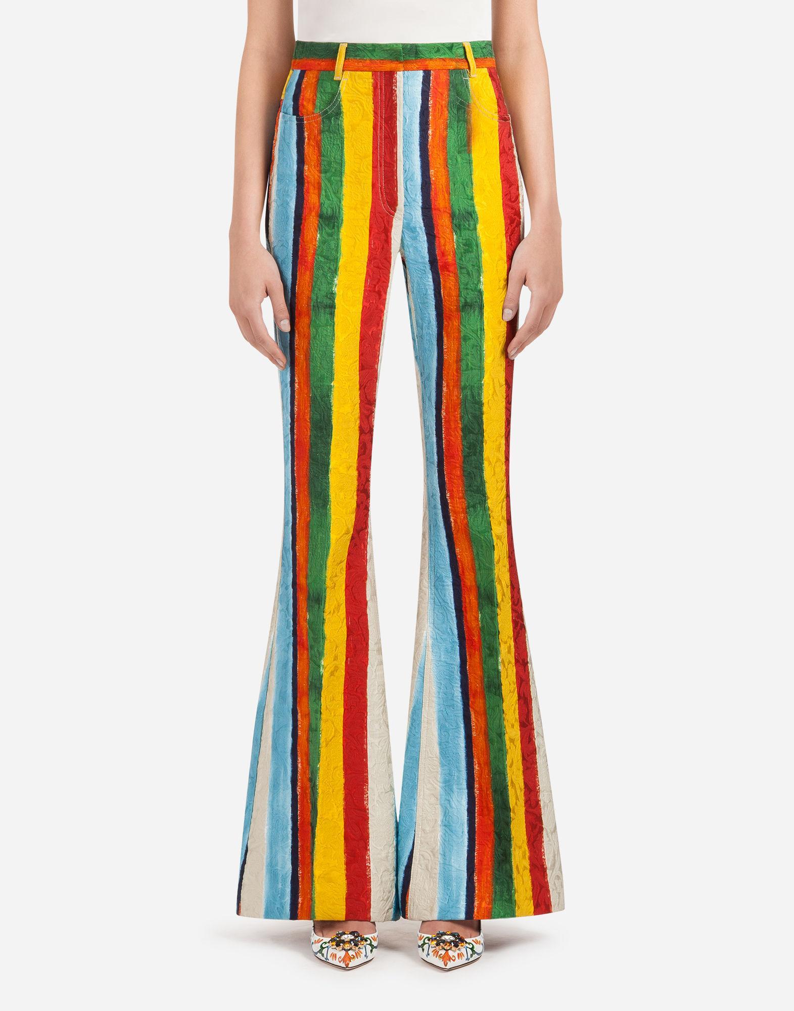 Dolce & Gabbana Printed Brocade Pants In Yellow