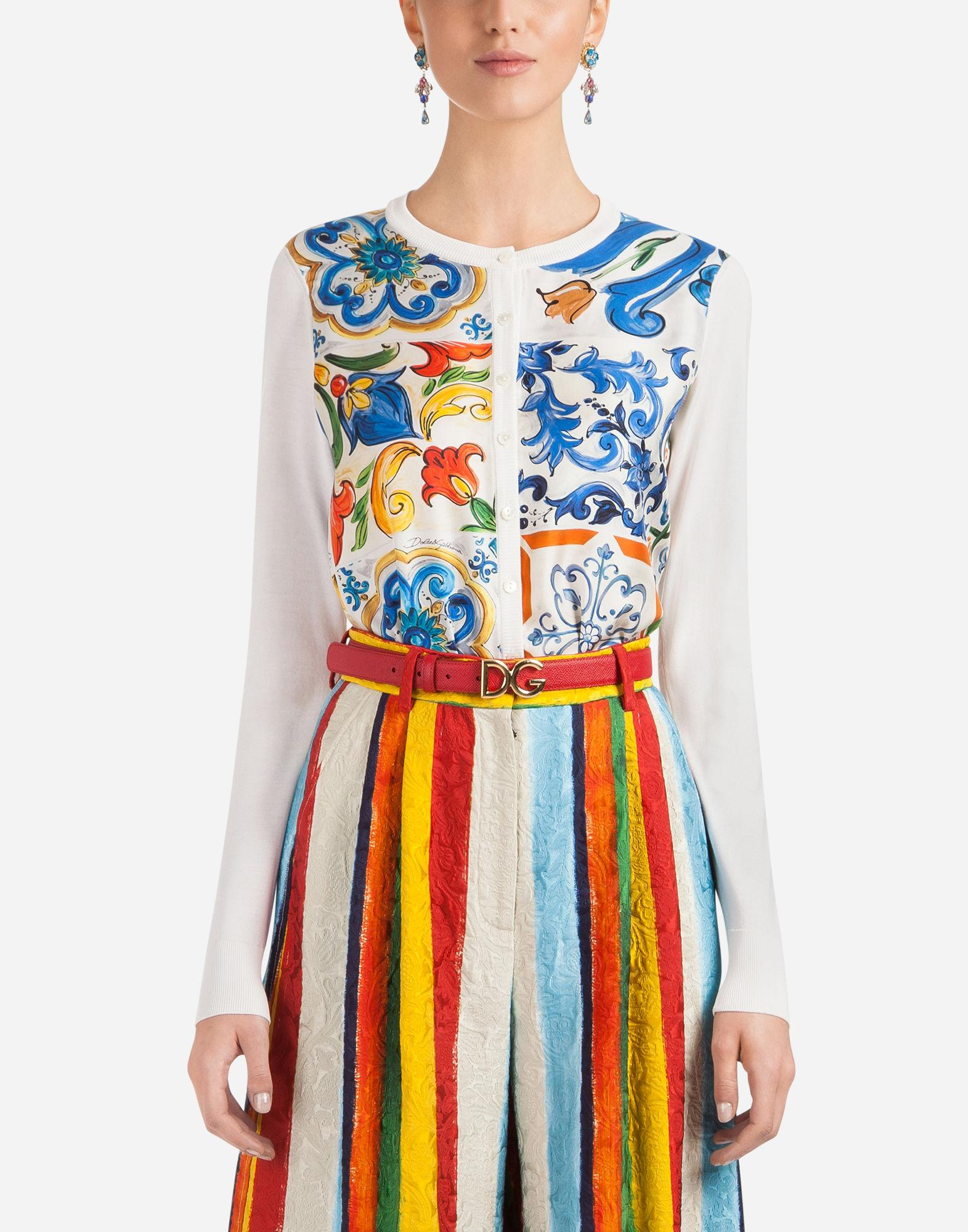 Dolce & Gabbana Silk Cardigan With Scarf Insert In White