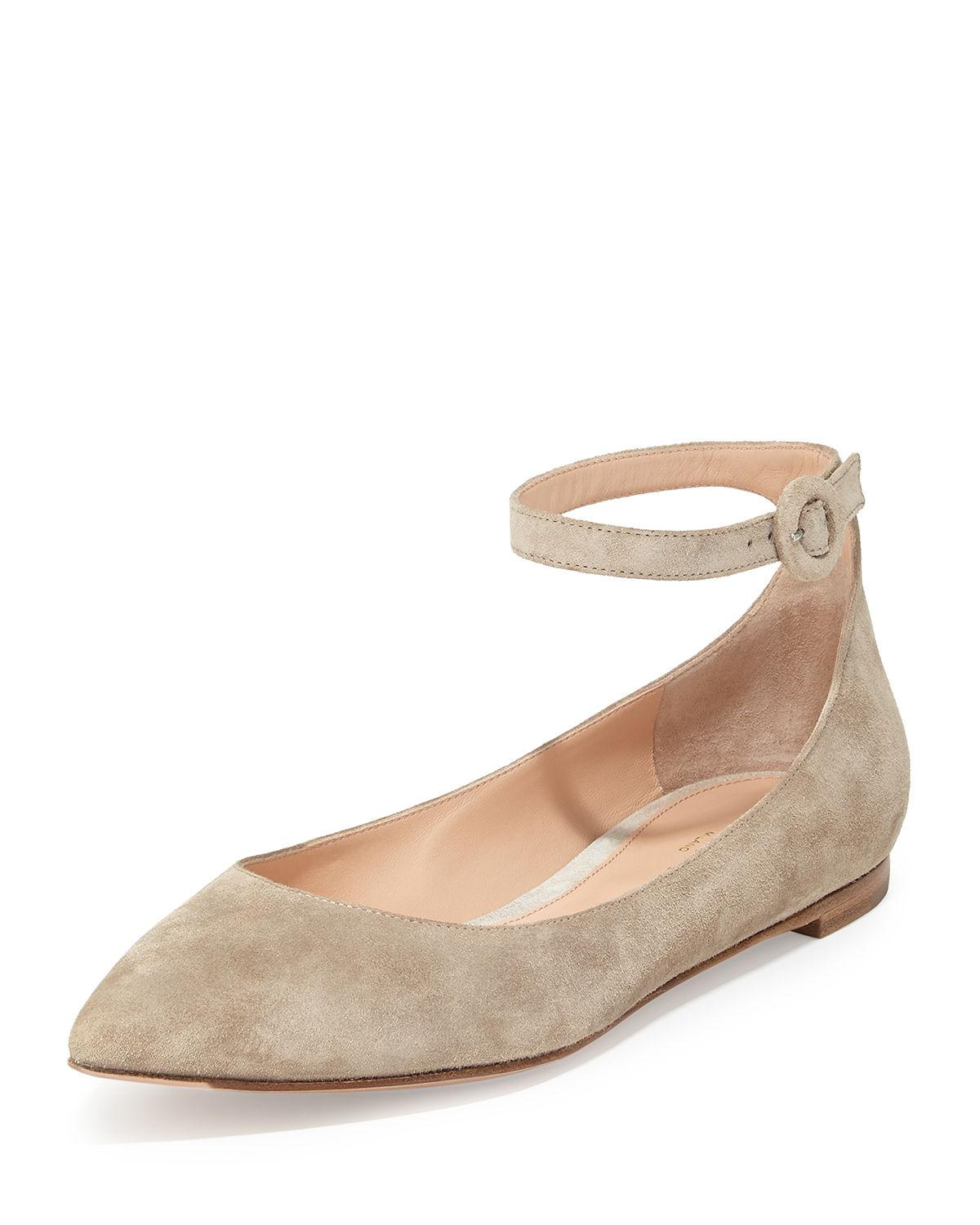 Gianvito Rossi Suede Ankle-wrap Skimmer Flat In Brown Light