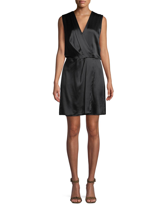 bbfca8a7fb2552 Rag & Bone Victor Sleeveless Silk Wrap Dress In Black | ModeSens