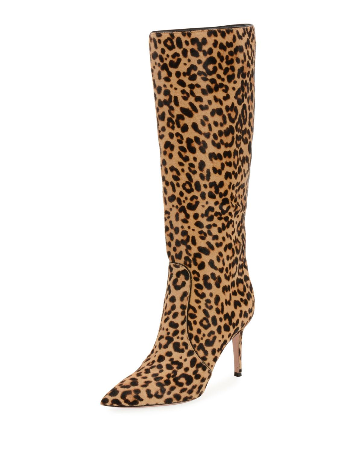 5f64141393c34 Gianvito Rossi Hunter Leopard-Print Calf Hair Knee Boots - Lt. Brown Size  10.5