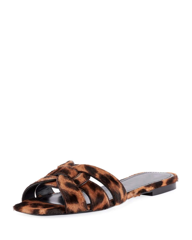 82f586f7a6fe Saint Laurent Nu Pieds Leopard-Print Calf Hair Slide Sandals In Leopard  Print