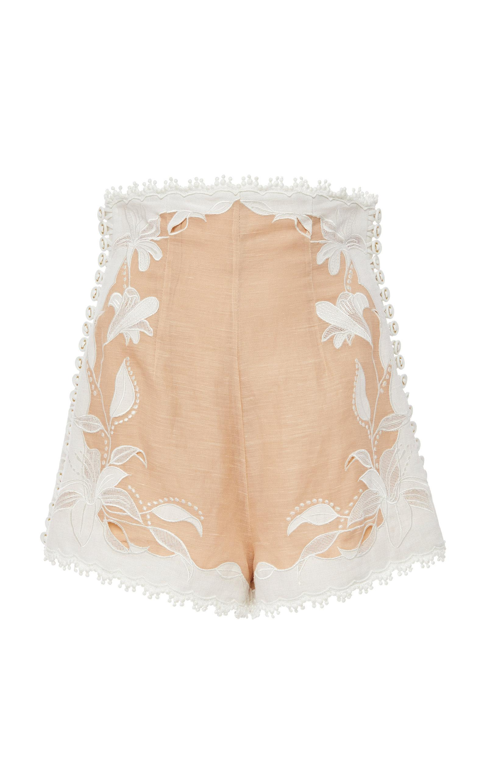 Zimmermann Corsage Lily Embroidered High-Waist Shorts In Neutral