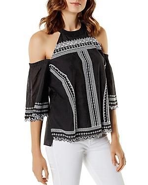 a7efeb905d1 Karen Millen Embroidered Cold-Shoulder Cotton-Blend Top In Monochrome