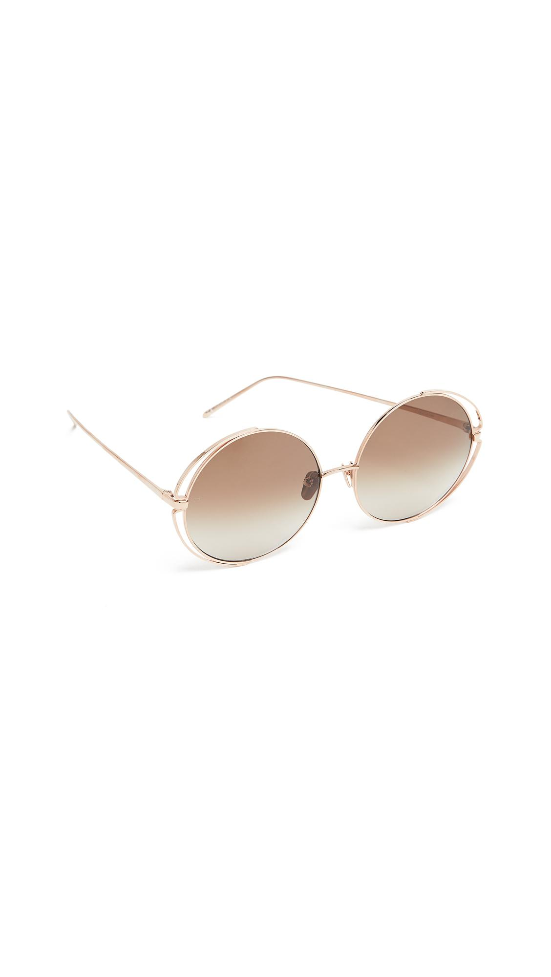 cfd2dc374a4 Linda Farrow Luxe 18K White Gold Plate Round Oversized Sunglasses In Milky  Grey Truffle