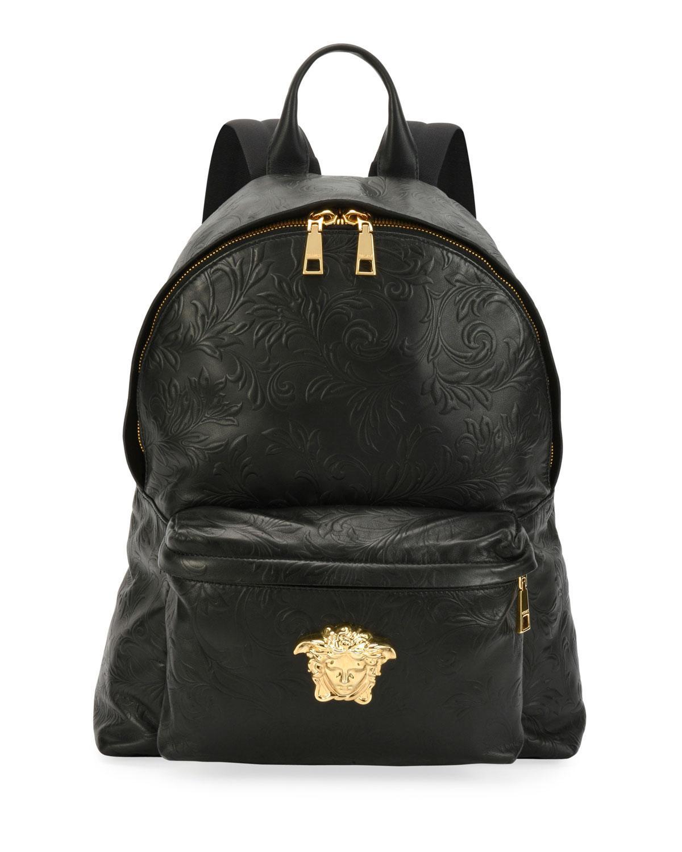 45ecdce6d9 Versace Men s Embossed Leather Medusa Backpack In Black