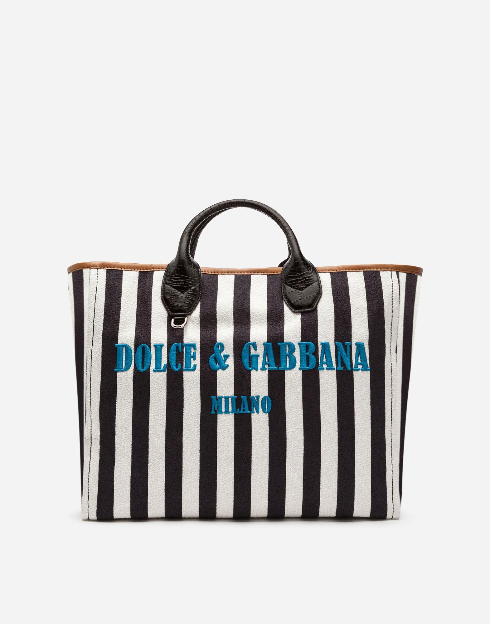 Dolce & Gabbana Capri Wicker Shopping Handbag In White
