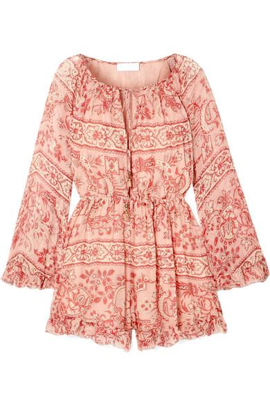 7d39305dcb6 Zimmermann Castile Ruffled Floral-Print Silk-Georgette Playsuit In Antique  Rose