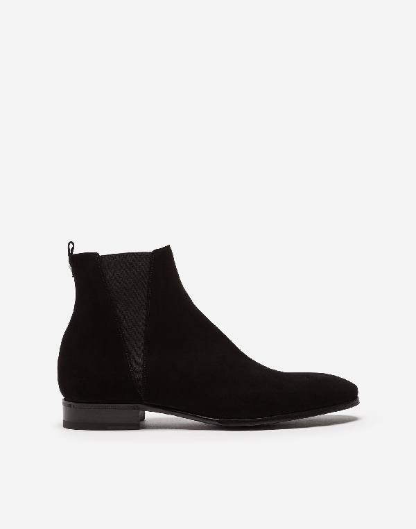 Dolce & Gabbana Dolce And Gabbana Black Suede Chelsea Boots In 80999 Black