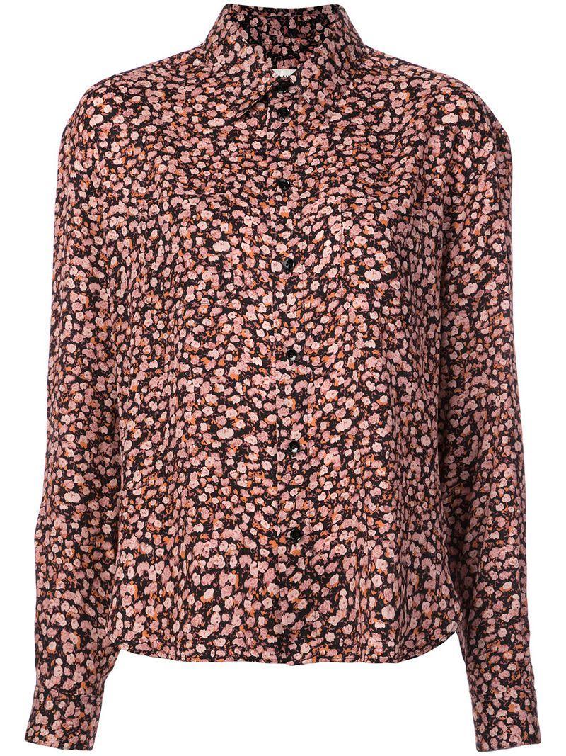 04d0817e699 Saint Laurent Long-Sleeve Button-Front Tiny Floral-Print Silk Shirt In Black