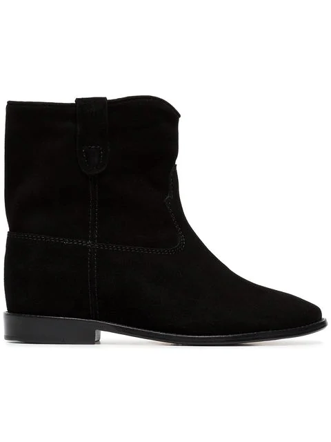Isabel Marant Crisi Low Heels Ankle Boots In Black Suede