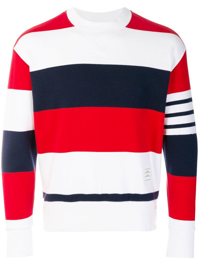 Thom Browne Engineered Rugby Stripe Drop-shoulder Crewneck Jersey Sweatshirt In Multicolour