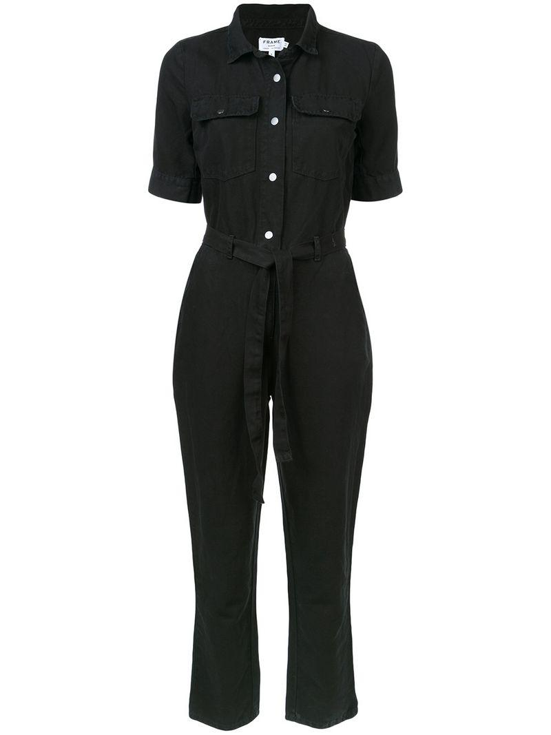 81c90bcdeb30 Frame Short-Sleeve Button-Down Belted Straight-Leg Cotton-Linen Jumpsuit