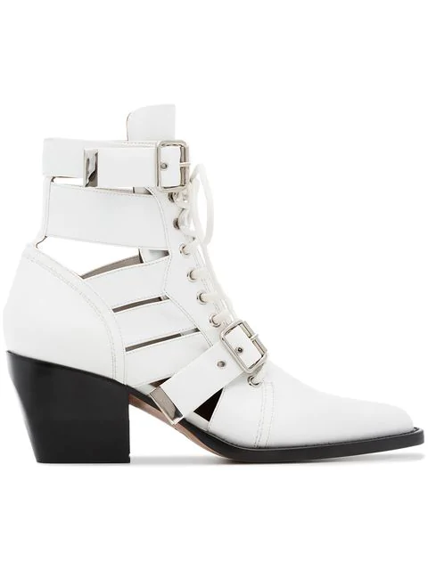 ChloÉ 'rylee' Cutout Leather Lace-up Ankle Boots In 101 White