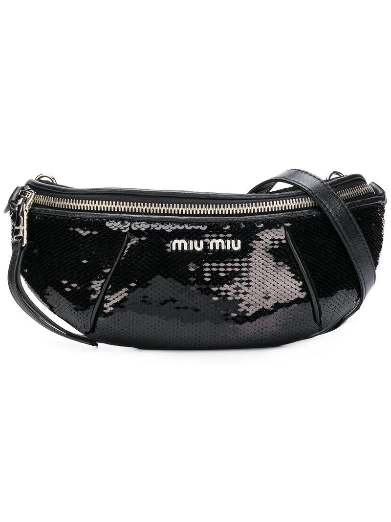 84cab867a34 Miu Miu Sequin Belt Bag In Black In F0002 Nero