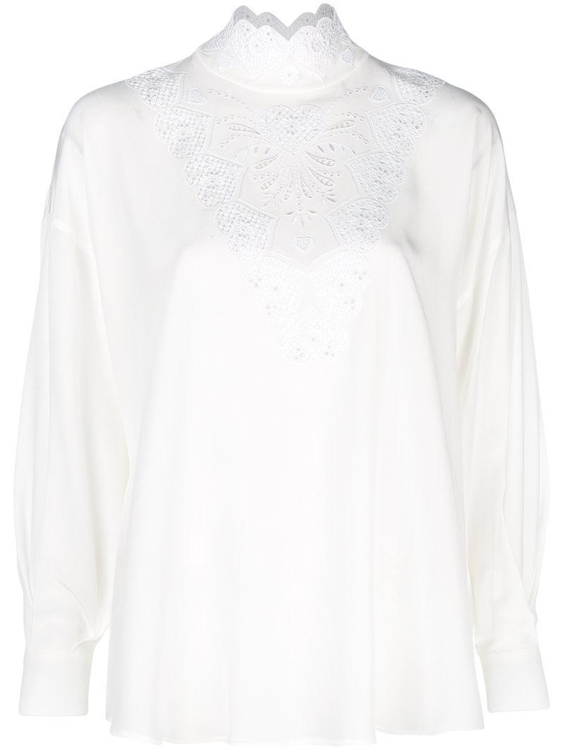 3592b2cbf2a793 Fendi Long-Sleeve High-Neck Silk Blouse With Heart Embroidery