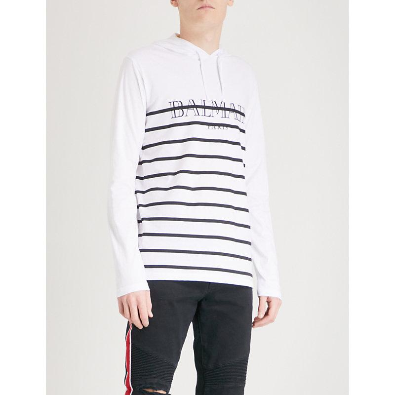 Balmain Striped-logo Hooded Cotton Sweatshirt In 181 Blk/wht