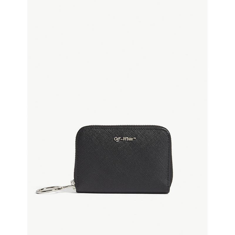 Off-white Logo-detail Zip-around Leather Wallet In Black