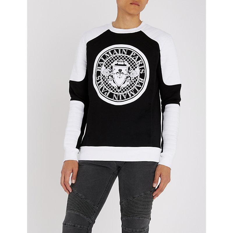 Balmain Monochrome Quilted Cotton-jersey Sweatshirt In Black