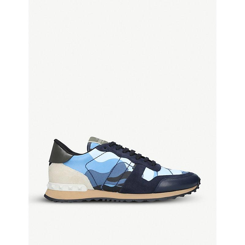 Valentino Rockrunner Camouflage Low-Top Leather Trainers In Blue
