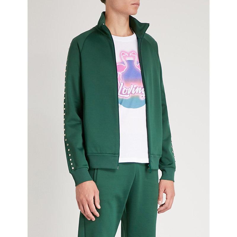 Valentino Rockstud Jersey Zip-Up Sweatshirt In Green